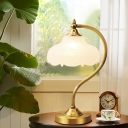 Modernist 1 Head Task Lighting Brass Floral Reading Lamp with White Glass Shade