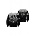 Gothic Boys' Long Sleeve Crew Neck Letter FOREVER WE'RE ONE Bull Demon King 3D Graphic Relaxed Pullover Sweatshirt in Black