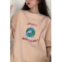 Cute Girls Popular Short Sleeve Round Neck Letter HELLO MAGIC PLANET Rocket Print Oversize Long Pullover Tee