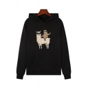 Funny Long Sleeve Cartoon Sloth Alpaca Patterned Kangaroo Pocket Loose Fit Hoodie for Girls