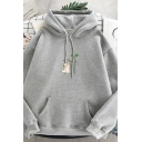 Stylish Street Long Sleeve Drawstring Cat Bud Graphic Pouch Pocket Loose Fit Hoodie for Women