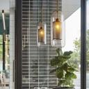 Modern Brass/Chrome Ceiling Pendant Capsule 1 Light Glass Hanging Light with Mesh Screen for Bedroom