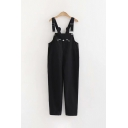 Cute Girls Buckle Straps Lovely Face Patterned Ankle Length Tapered Fit Suspender Trousers
