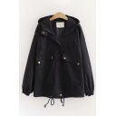 Trendy Ladies Long Sleeve Hooded Zipper Front Flap Pocket Drawstring Hem Plain Loose Jacket