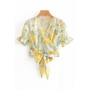 Fancy Ladies Yellow Short Sleeve Surplice Neck All Over Floral Printed Bow Tie Wrap Crop Top with Shorts
