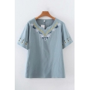 Vintage Ladies Short Sleeve V-Neck Embroidered Relaxed Fit T-Shirt