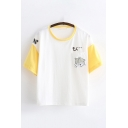 Womens Fashion Short Sleeve Round Neck Japanese Letter Mouse Graphic Colorblock Relaxed T Shirt