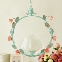 Flower Milk Glass Pendant Light Pastoral 1 Bulb Dining Room LED Suspension Lighting Fixture in Pink/Blue