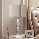 Fabric Square Task Light Modern 1 Bulb Beige Nightstand Lamp with Clear Crystal Base