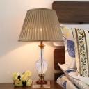 Jar Beveled Crystal Table Lamp Modern 1 Head Flaxen Desk Light with Fabric Shade