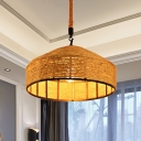 1 Head Mongolian Yurts Pendant Antiqued Beige Rope Hanging Ceiling Light, 12