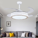 LED Pendant Fan Light Fixture Modernism Drum Metal Wall/Remote Control Semi Flush Lamp in White with 4 Clear Blades, 42