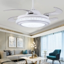 Round Metallic Semi Flush Lamp Modernist Dining Room LED 4-Blade Ceiling Fan Light in White with Wall/Remote Control, 36