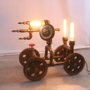 War Chariot Coffee Shop Table Light Vintage Iron 3 Heads Brass Finish Plug In Desk Lamp