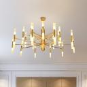 Brass 2-Layer Tubular Chandelier Simple 40 Lights Metallic Ceiling Pendant Lamp for Living Room