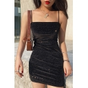 Stylish Ladies Bling Bling Sleeveless Metallic Mini Bodycon Cami Dress in Black