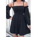Lovely Fancy Long Sleeve Cold Shoulder Lace Up Back Lace Patched Short Pleated A-Line Dress in Black