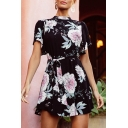 Ladies Elegant Short Sleeve Crew Neck All Over Floral Printed Bow Tied Waist Mini A Line Dress in Black
