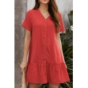 Leisure Womens Short Sleeve V-Neck Button Down Ruffle Trimmed Plain Short Swing Dress