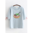 Preppy Girls Short Sleeve Round Neck Food Patterned Bow Tied Relaxed Tee