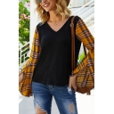 Chic Street Ladies Bell Sleeve V-Neck Plaid Panel Relaxed T Shirt in Black