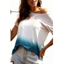 Trendy Ladies Roll Up Sleeve Drop Shoulder Ombre Relaxed Fit T-Shirt