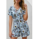 Light Blue Fashion Short Sleeve V-Neck All Over Floral Printed Relaxed Romper for Girls