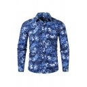 Blue Popular Fancy Long Sleeve Lapel Collar Button Down All Over Floral Printed Fitted Shirt for Mens