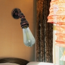 Rust Finish 1 Bulb Sconce Light Fixture Vintage Metallic Water Pipe Wall-Mount Lamp
