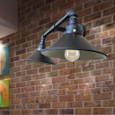 2 Lights Saucer Shade Sconce Light Fixture Antiqued Black Finish Metal Wall Mount Lamp for Living Room