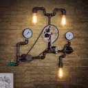 Rust 3 Lights Wall-Mount Light Fixture Farmhouse Metallic Bicycle Sconce Lamp for Restaurant