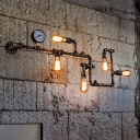 5 Lights Twisted Pipe Sconce Vintage Black/Bronze Finish Iron Wall-Mount Lamp Fixture for Bedroom