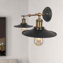 Black 2 Heads Wall Mount Sconce Industrial Metallic Flared Wall Light Fixture with Double Arm