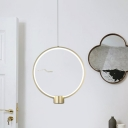 Modernist Ring Hanging Lighting Metallic Dining Room LED Pendant Ceiling Lamp in Gold, White/Warm Light