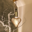 Amber Glass Heart Shaped Pendant Lamp Vintage 1-Head Restaurant Ceiling Hang Fixture