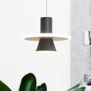 Modern Flared Suspension Light Metallic LED Bedroom Hanging Pendant Lamp in Black, White/Warm Light