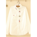 Leisure Lovely Long Sleeve Lapel Neck Button Down Cartoon Embroidery Flap Pocket Loose Fit Shirt in White