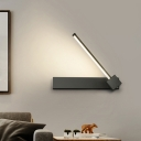 White/Black Rectangle and Line Sconce Modernist Acrylic Adjustable LED Wall Mount Fixture in White/Warm Light
