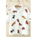 Lovely Girls Short Sleeve Lapel Collar Button Down Allover Dog Printed Relaxed Fit Shirt in White