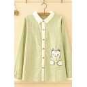 Fashionable Womens Long Sleeve Lapel Neck Button Down Cat Pocket Plaid Printed Contrasted Loose Fit Shirt in Green