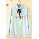 Preppy Girls Long Sleeve Lapel Collar Button Down Bow Tie Neck Cartoon Kids Embroidered Relaxed Shirt