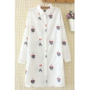 Popular Novelty Girls Long Sleeve Lapel Collar Button Down All Over Funny Cartoon Embroidered Longline Loose Shirt