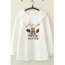 Preppy Girls Long Sleeve Peter Pan Collar Bear Letter KATIE Graphic Lace Trim Stringy Selvedge Relaxed Pullover Sweatshirt