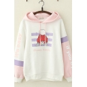 Fashionable Womens Long Sleeve Drawstring Letter IT'S EASY IF YOU TRY Cartoon Graphic Striped Colorblocked Loose Fit Hoodie