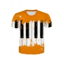 Stylish Boys Short Sleeve Crew Neck Piano Printed Color Block Relaxed T-Shirt in Yellow