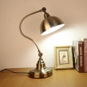 Gold Finish Gooseneck Arm Desk Light Vintage Metallic Study Room LED Table Lamp with Domed Shade