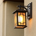 Lodges Cuboid Sconce 1-Bulb Metallic Wall Lighting Fixture in Black with Yellow Glass Shade