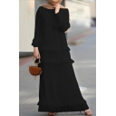 Leisure Womens Long Sleeve Round Neck Ruffled Trim Solid Color Maxi A-Line Dress