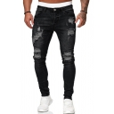 Cool Mens Mid Rise Ripped Bleach Long Length Skinny Jeans
