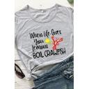 Simple Summer Girls Short Sleeve Round Neck Letter BOIL CRAWFISH Lobster Lemon Graphic Loose Fit Tee